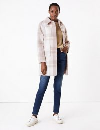 M&S COLLECTION Raglan Checked Car Coat in Natural Mix