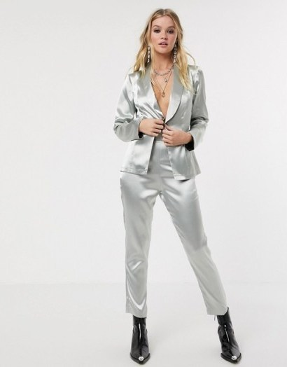 Reclaimed Vintage inspired suit trousers in silver metallic – silky smooth pants - flipped