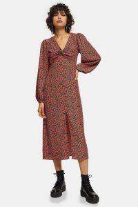 Topshop Red Rose Print Godet Twist Front Midi Dress – vintage look floral dresses