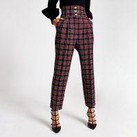 River Island Red tartan corset waist peg trousers | palid pants