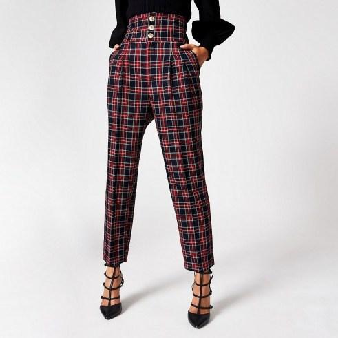 River Island Red tartan corset waist peg trousers   palid pants - flipped