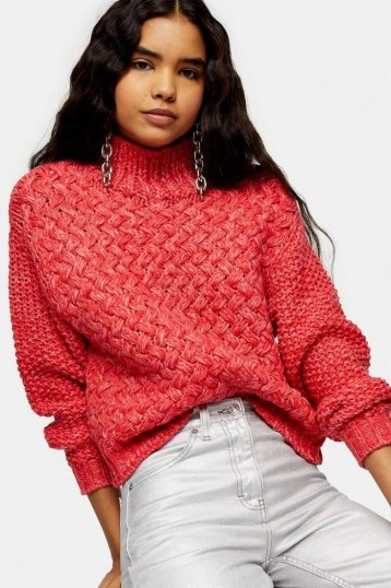 Topshop Red Twisted Hand Knit Jumper | chunky high neck knits - flipped