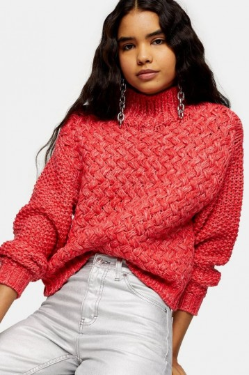 Topshop Red Twisted Hand Knit Jumper | chunky high neck knits