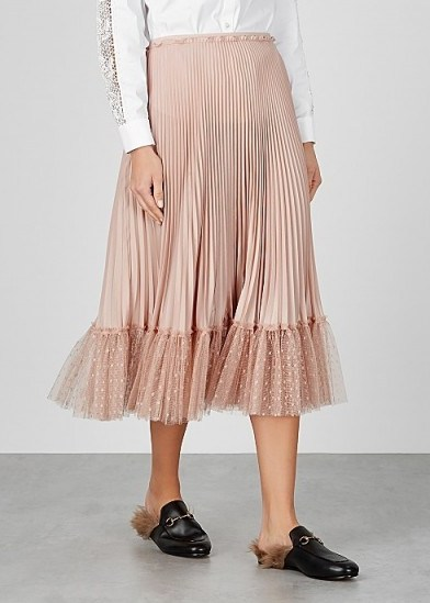 RED VALENTINO Blush point d'esprit-trimmed pleated midi skirt ~ frill hemmed skirts - flipped