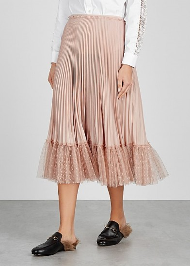 RED VALENTINO Blush point d'esprit-trimmed pleated midi skirt ~ frill hemmed skirts