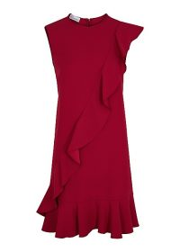 RED VALENTINO Red ruffle-trimmed mini dress ~ asymmetrical ruffles
