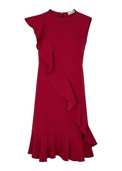 RED VALENTINO Red ruffle-trimmed mini dress ~ asymmetrical ruffles - flipped