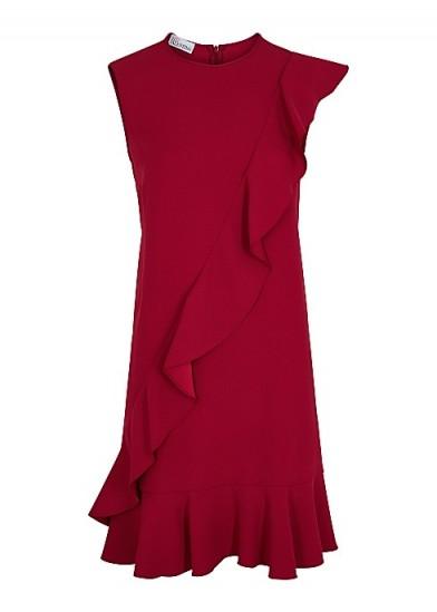 RED VALENTINO Red ruffle-trimmed mini dress ~ asymmetrical ruffles