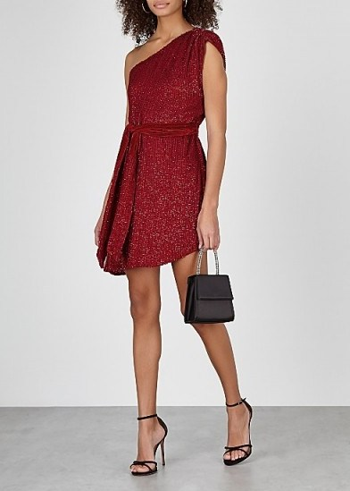 RETROFÊTE Ella red one-shoulder sequin mini dress ~ glamorous party wear - flipped