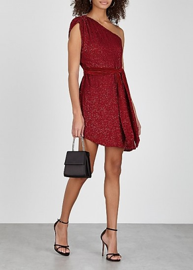 RETROFÊTE Ella red one-shoulder sequin mini dress ~ glamorous party wear