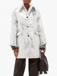KASSL EDITIONS Reversible metallic-PVC and shearling jacket in silver ~ high-shine winter jackets ~ luxe outerwear