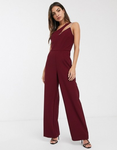 River Island asymmetric jumpsuit in dark red – glamorous going out fashion