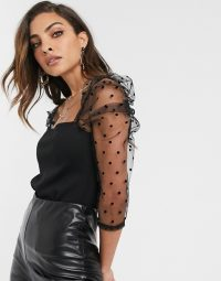 River Island long sleeve square neck mesh sleeve top in black – spot sleeved tops