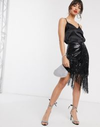River Island sequin tassel skirt in black / fringed skirts