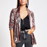 RIVER ISLAND Rose gold sequin embellished blazer / going out jackets