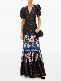 ERDEM Rosetta Dusk Bouquet-print silk dress in black ~ tiered floral maxi
