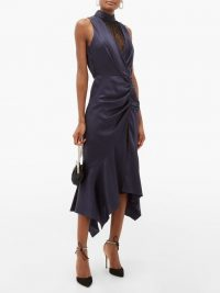 JONATHAN SIMKHAI Ruched Chantilly-lace and silk-charmeuse dress in navy ~ party glamour ~ side ruched evening dresses