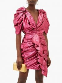 HALPERN Ruffled pink devoré-lamé mini dress ~ party glamour