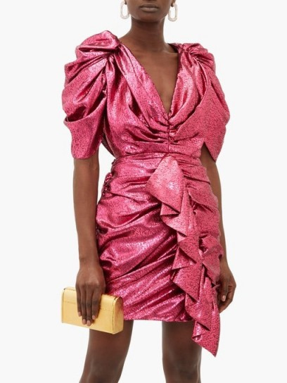 HALPERN Ruffled pink devoré-lamé mini dress ~ party glamour