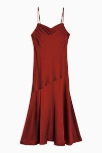 Topshop Rust Ruched Bias Satin Slip Dress – side slit cami dresses
