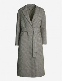 S MAX MARA Scout checked wool coat in black / classic belted coats