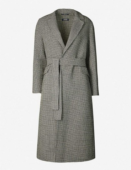 S MAX MARA Scout checked wool coat in black / classic belted coats - flipped