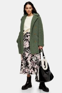 TOPSHOP Sage Borg Pea Coat / green textured coats