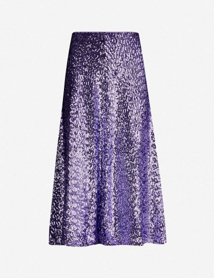 SAMSOE & SAMSOE Henny sequinned midi skirt in aster purple