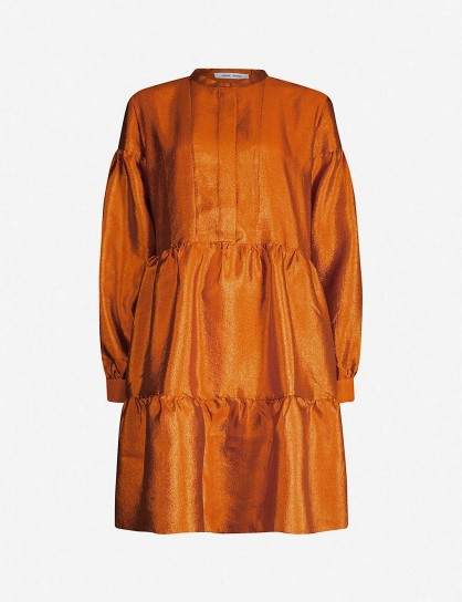 SAMSOE & SAMSOE Margo taffeta mini shirt dress in honey ginger ~ tiered dresses