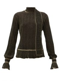 PETER PILOTTO Scarf-neck plissé metallic-knit sweater in black ~ chic knitwear