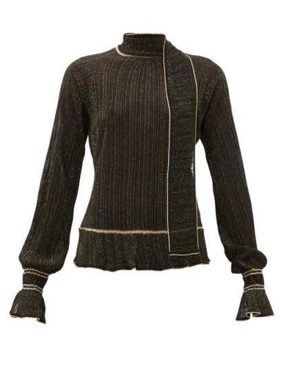 PETER PILOTTO Scarf-neck plissé metallic-knit sweater in black ~ chic knitwear