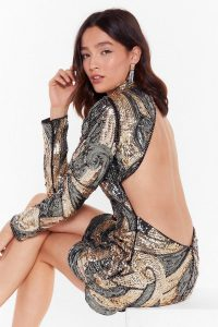 NASTY GAL Sequin That Girl High Neck Mini Dress in Gold. OPEN BACK PARTY DRESSES