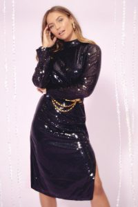 NASTY GAL Sequin You Over High Neck Midi Dress in Black