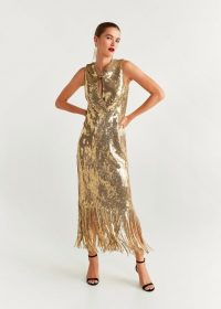 MANGO Gold sequin gown / fringed hemline dress