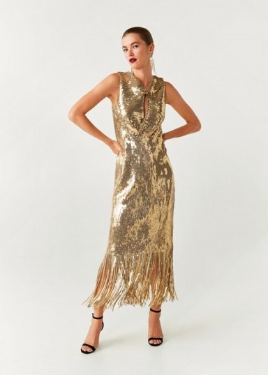 MANGO Gold sequin gown / fringed hemline dress - flipped