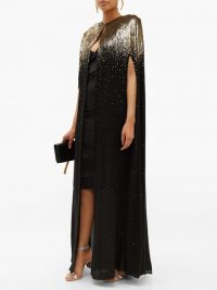 GIVENCHY Sequinned silk-chiffon cape in black / long shimmering capes