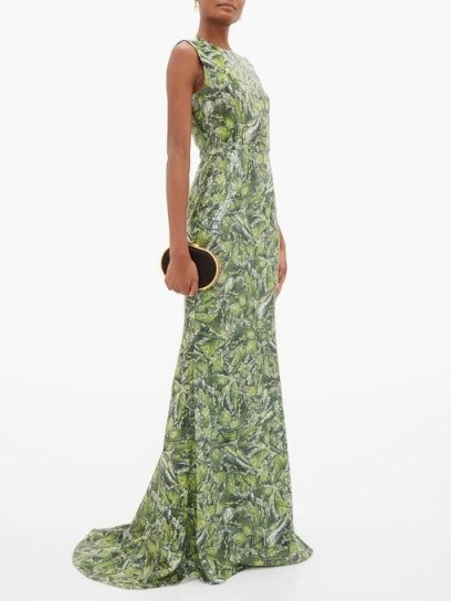 HALPERN Sequinned wave-print dress in green / elegant sequinned occasion wear - flipped