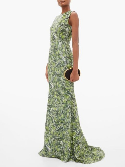HALPERN Sequinned wave-print dress in green / elegant sequinned occasion wear