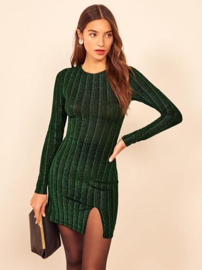 Reformation Sheffield Dress in Emerald Metallic Stripe   green evening dresses