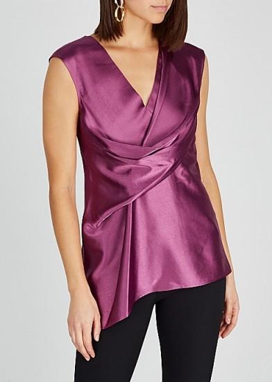 SIES MARJAN Neela magenta wrap-effect satin top ~ draped tops