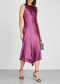 SIES MARJAN Vanessa magenta satin midi dress