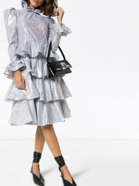 BATSHEVA Confection metallic-silver tiered dress