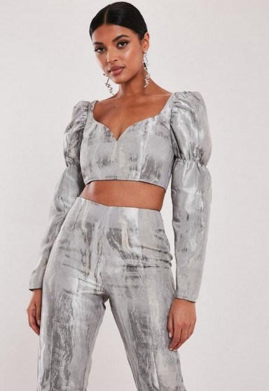 MISSGUIDED silver co ord metallic brocade milkmaid crop top - flipped