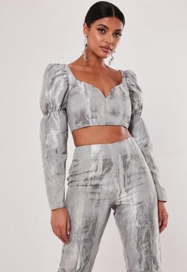 MISSGUIDED silver co ord metallic brocade milkmaid crop top