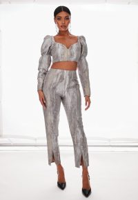 MISSGUIDED silver co ord metallic brocade trousers / slit hem pants