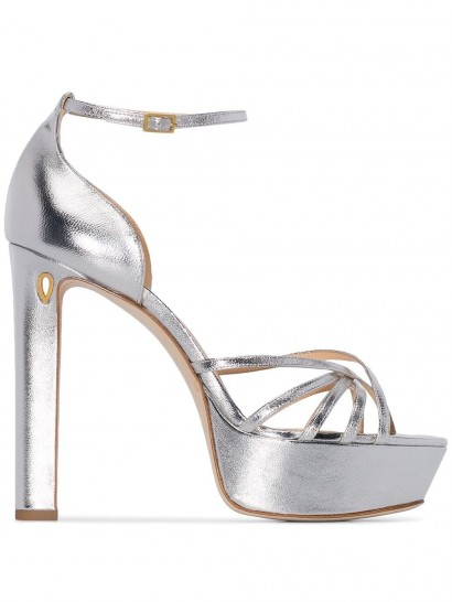 JENNIFER CHAMANDI Roberto silver-leather platform sandals / metallic platforms