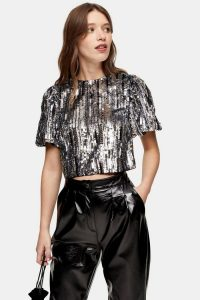 Topshop Silver Sequin Crop Blouse | glittering going out tops