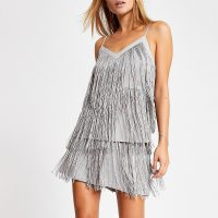 River Island Silver sequin embellished fringe cami top | fringed camisoles