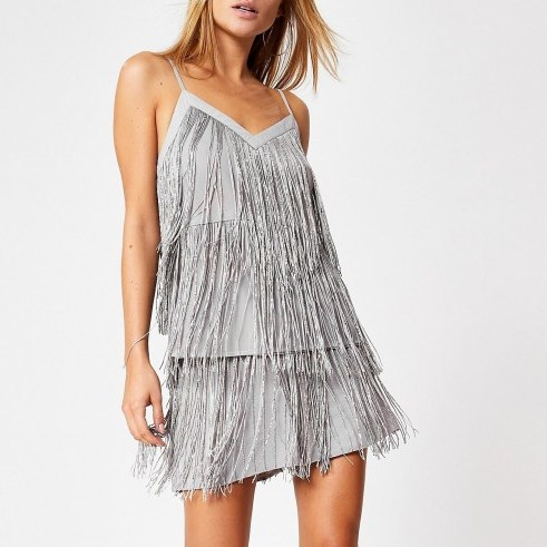 River Island Silver sequin embellished fringe cami top | fringed camisoles - flipped
