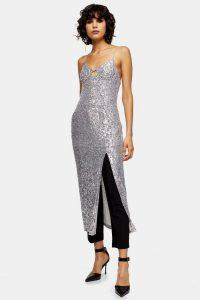 Topshop Silver Sequin Keyhole Midi Dress | sparkling slip dresses